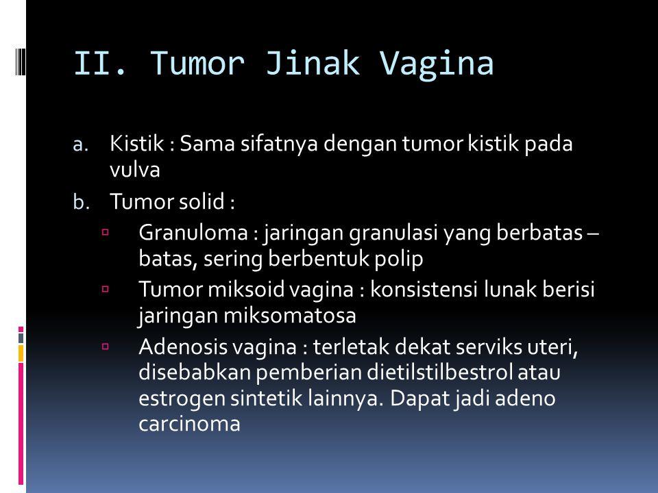 II. Tumor Jinak Vagina Kistik : Sama sifatnya dengan tumor kistik pada vulva. Tumor solid :