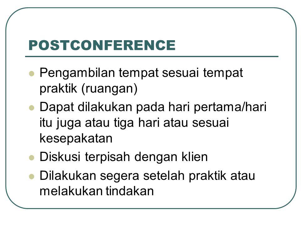 POSTCONFERENCE Pengambilan tempat sesuai tempat praktik (ruangan)