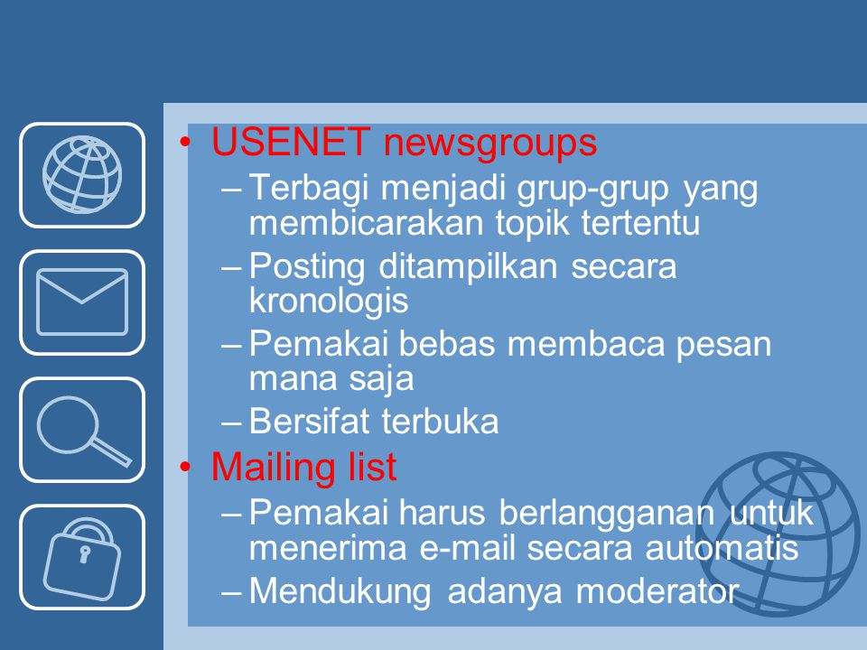 USENET newsgroups Mailing list