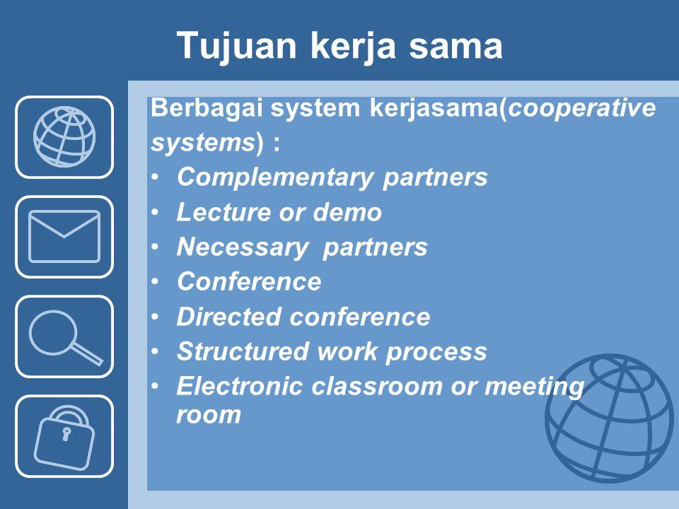 Tujuan kerja sama Berbagai system kerjasama(cooperative systems) :