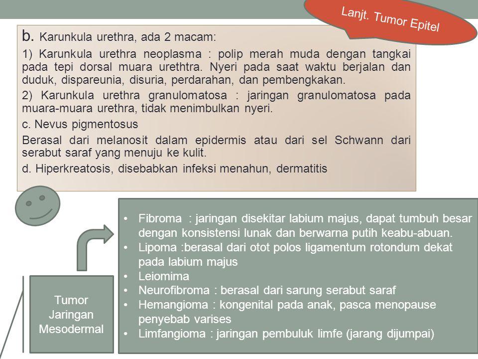 b. Karunkula urethra, ada 2 macam: