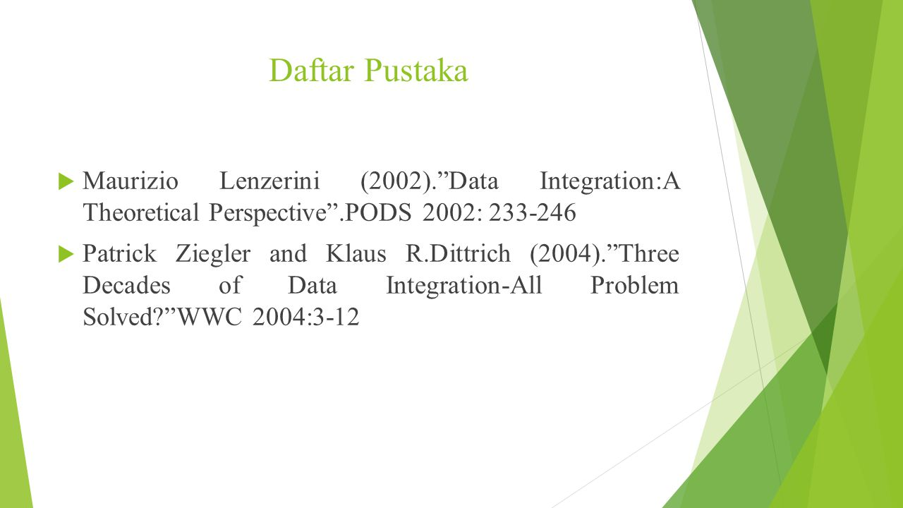 Daftar Pustaka Maurizio Lenzerini (2002). Data Integration:A Theoretical Perspective .PODS 2002: 233-246.