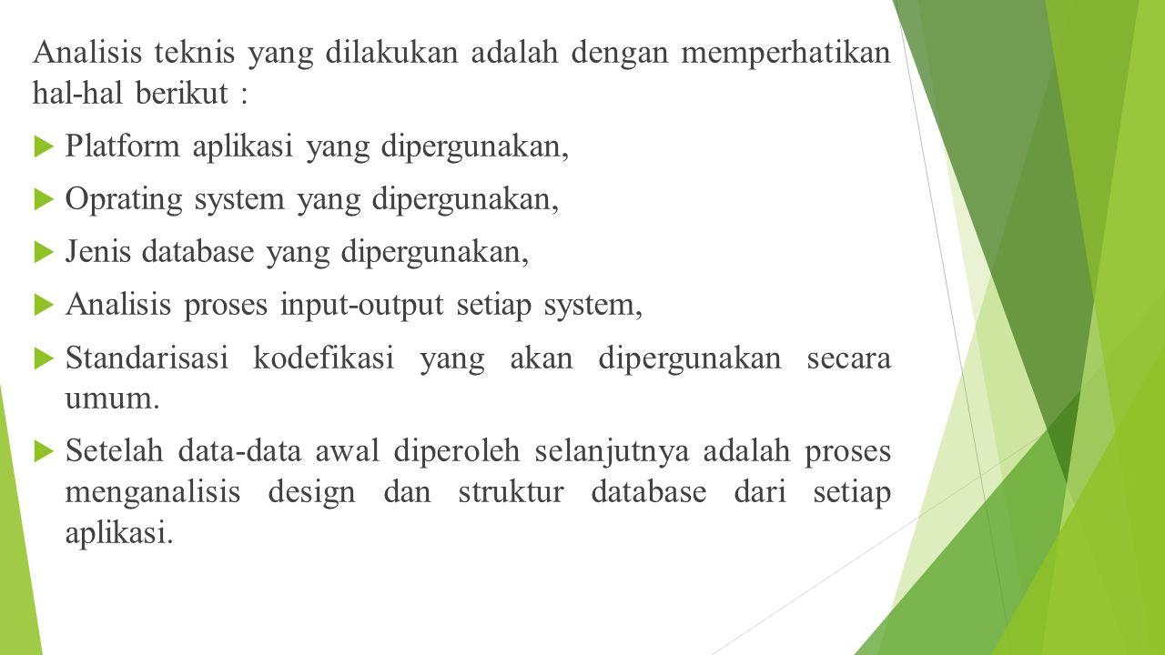 Analisis teknis yang dilakukan adalah dengan memperhatikan hal-hal berikut :