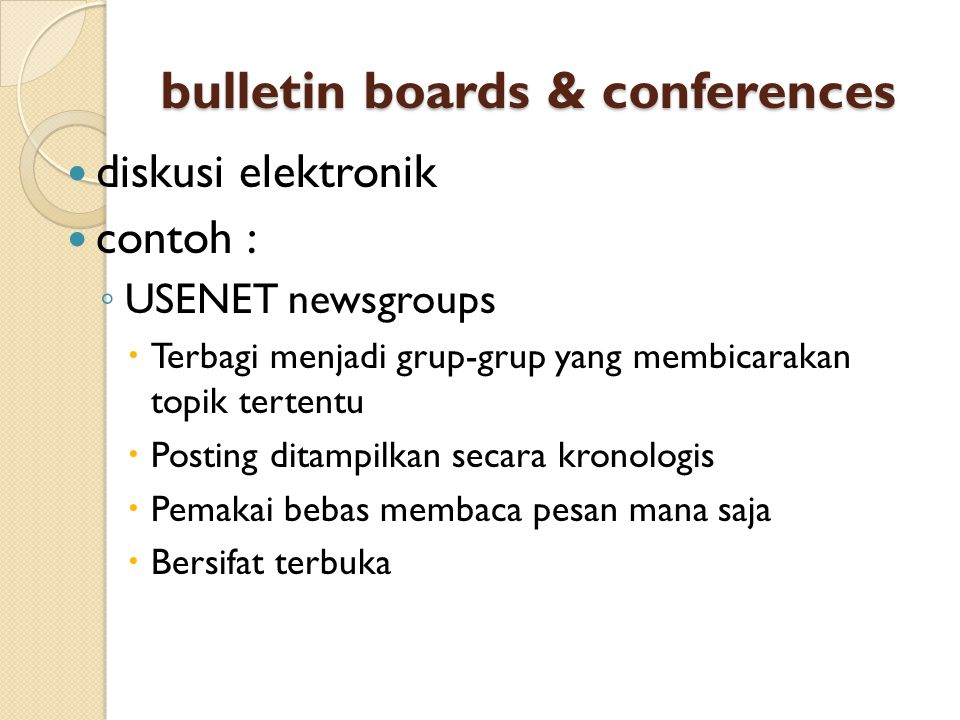 bulletin boards & conferences
