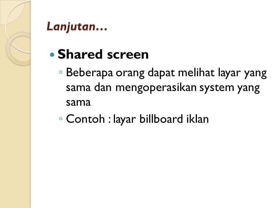 Shared screen Lanjutan…