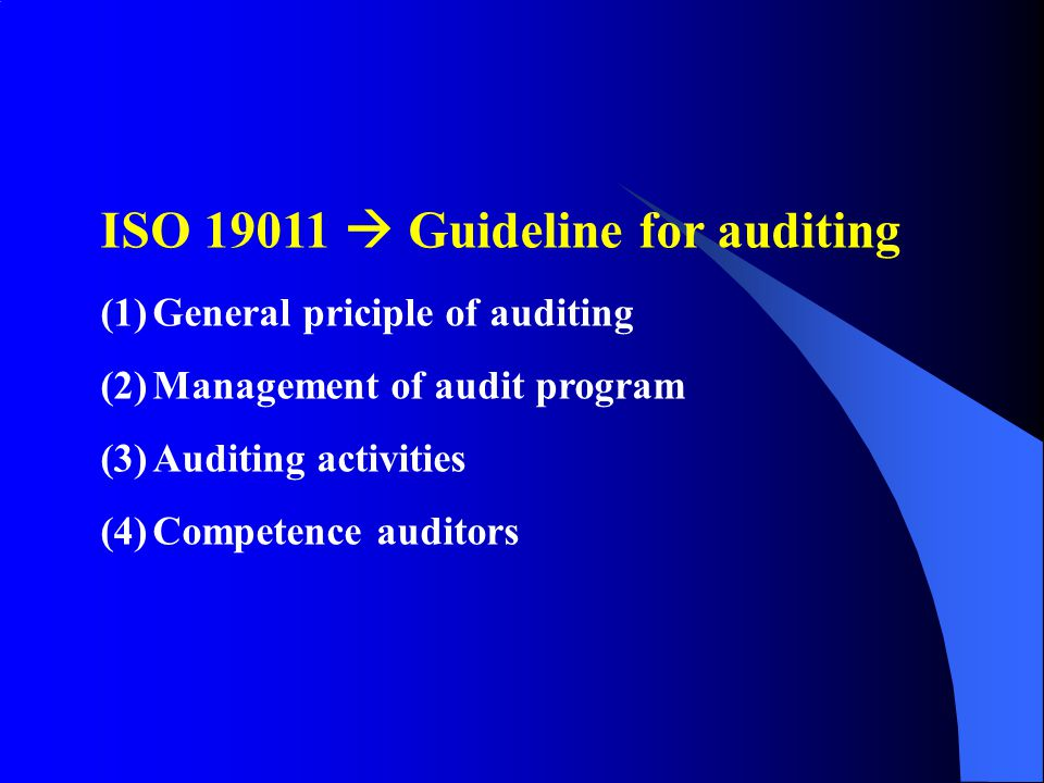 ISO 19011  Guideline for auditing