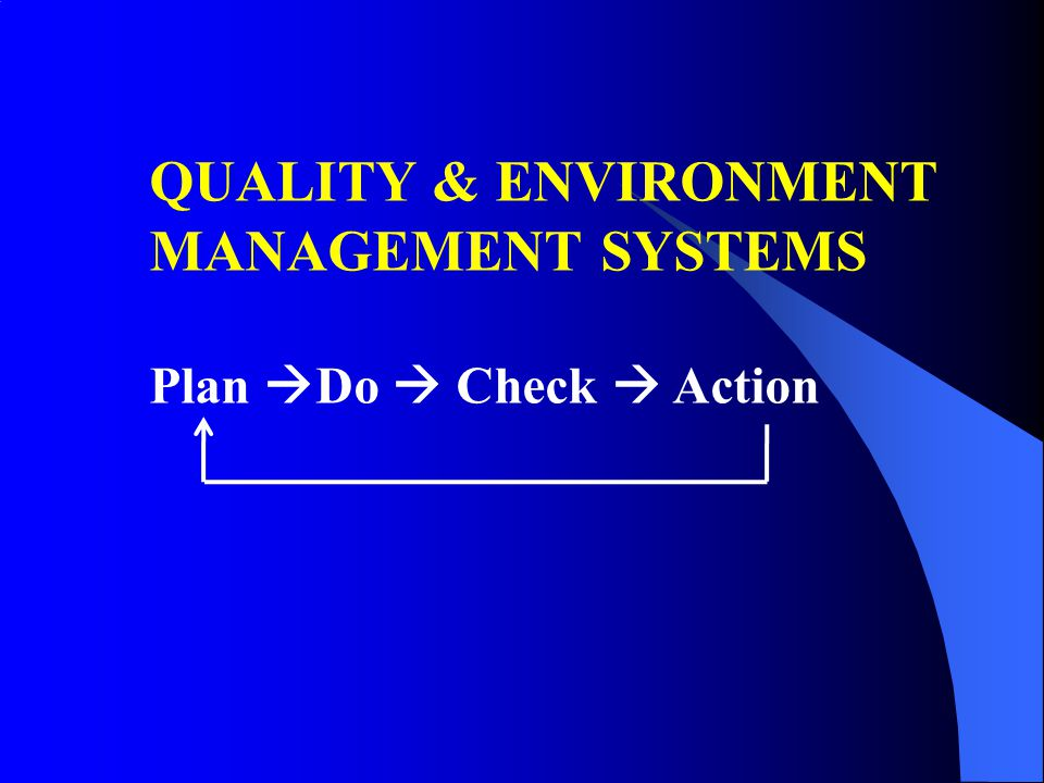 QUALITY & ENVIRONMENT MANAGEMENT SYSTEMS Plan Do  Check  Action