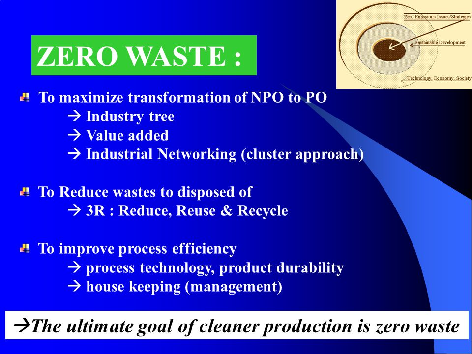 ZERO WASTE : The ultimate goal of cleaner production is zero waste
