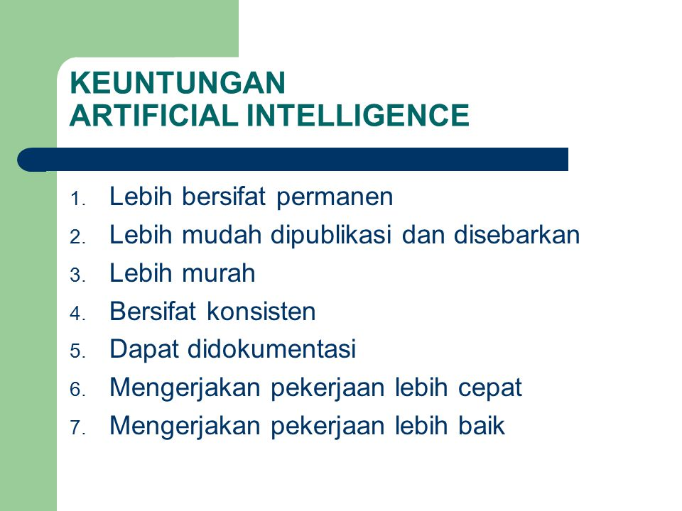 KEUNTUNGAN ARTIFICIAL INTELLIGENCE