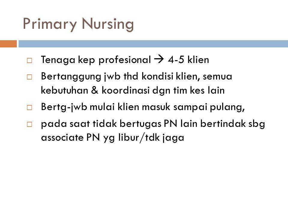 Primary Nursing Tenaga kep profesional  4-5 klien