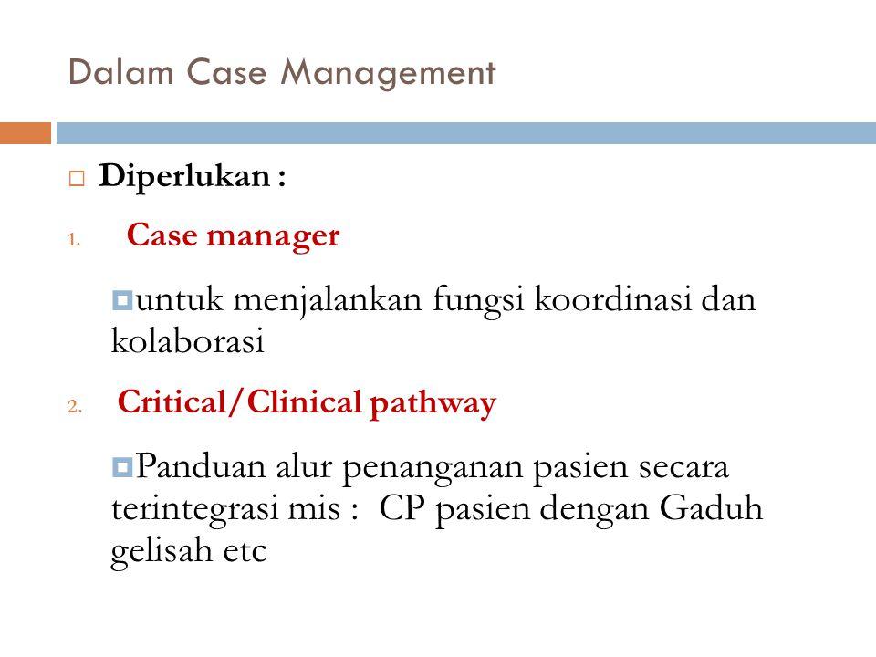 Dalam Case Management Diperlukan : Case manager. untuk menjalankan fungsi koordinasi dan kolaborasi.