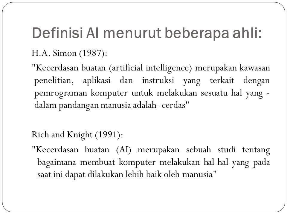 Definisi AI menurut beberapa ahli: