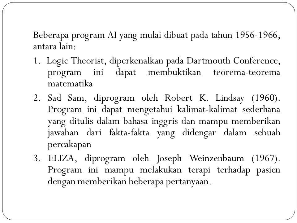 Beberapa program AI yang mulai dibuat pada tahun 1956-1966, antara lain: 1.