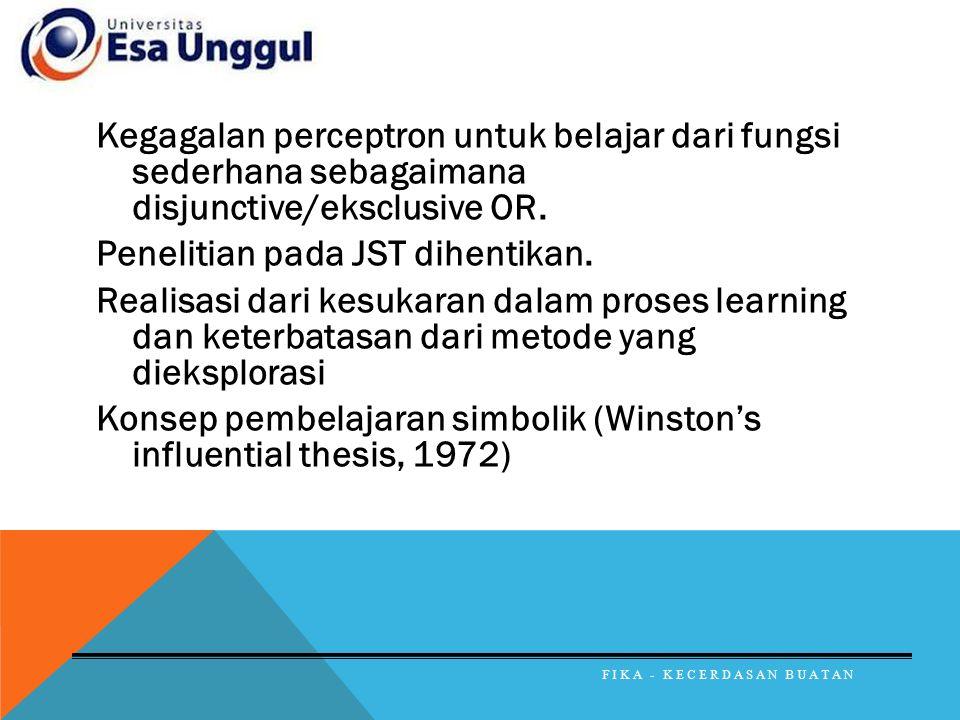 Kegagalan perceptron untuk belajar dari fungsi sederhana sebagaimana disjunctive/eksclusive OR. Penelitian pada JST dihentikan. Realisasi dari kesukaran dalam proses learning dan keterbatasan dari metode yang dieksplorasi Konsep pembelajaran simbolik (Winston's influential thesis, 1972)