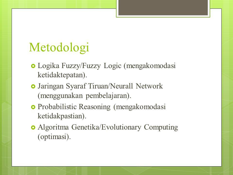 Metodologi Logika Fuzzy/Fuzzy Logic (mengakomodasi ketidaktepatan).