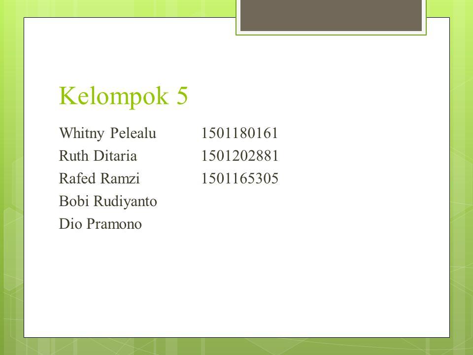 Kelompok 5 Whitny Pelealu 1501180161 Ruth Ditaria 1501202881 Rafed Ramzi 1501165305 Bobi Rudiyanto Dio Pramono