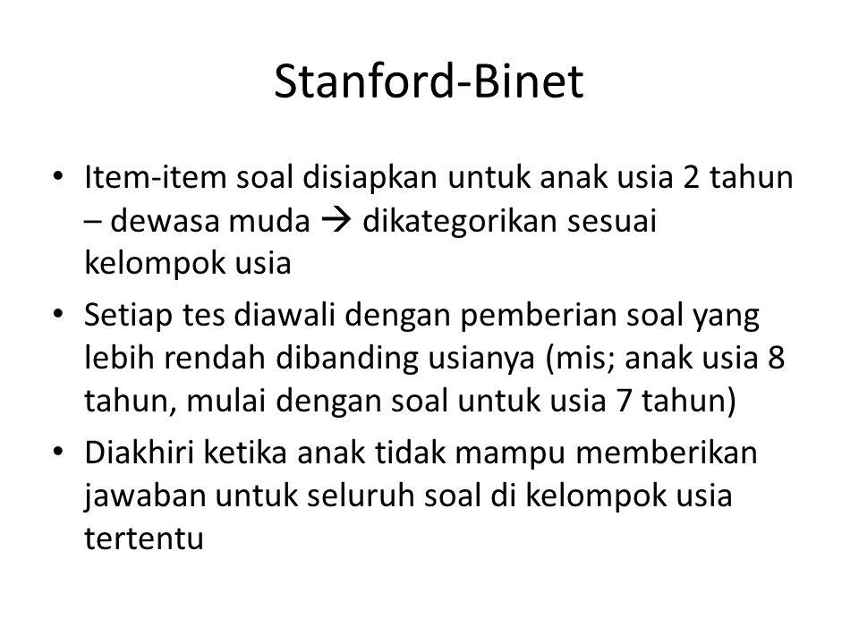 Stanford-Binet Item-item soal disiapkan untuk anak usia 2 tahun – dewasa muda  dikategorikan sesuai kelompok usia.