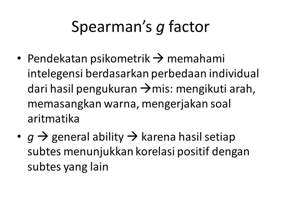 Spearman's g factor