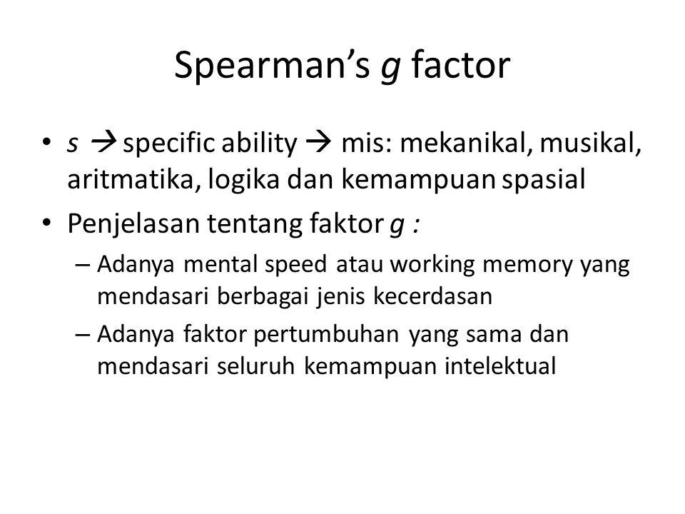 Spearman's g factor s  specific ability  mis: mekanikal, musikal, aritmatika, logika dan kemampuan spasial.