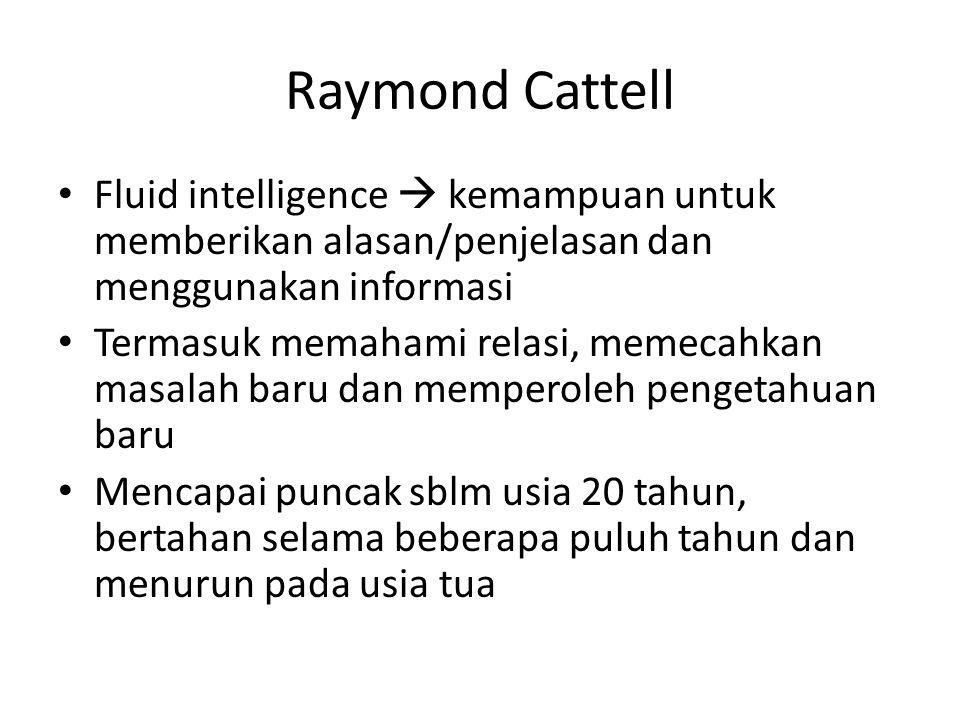 Raymond Cattell Fluid intelligence  kemampuan untuk memberikan alasan/penjelasan dan menggunakan informasi.