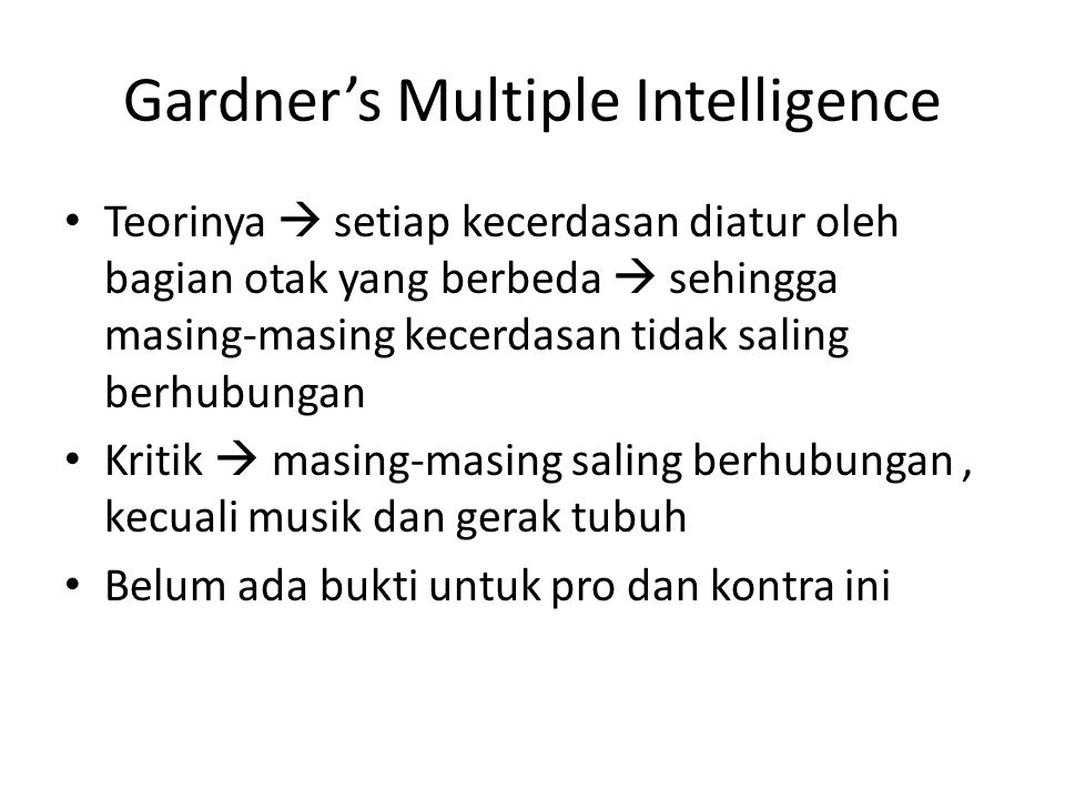 Gardner's Multiple Intelligence