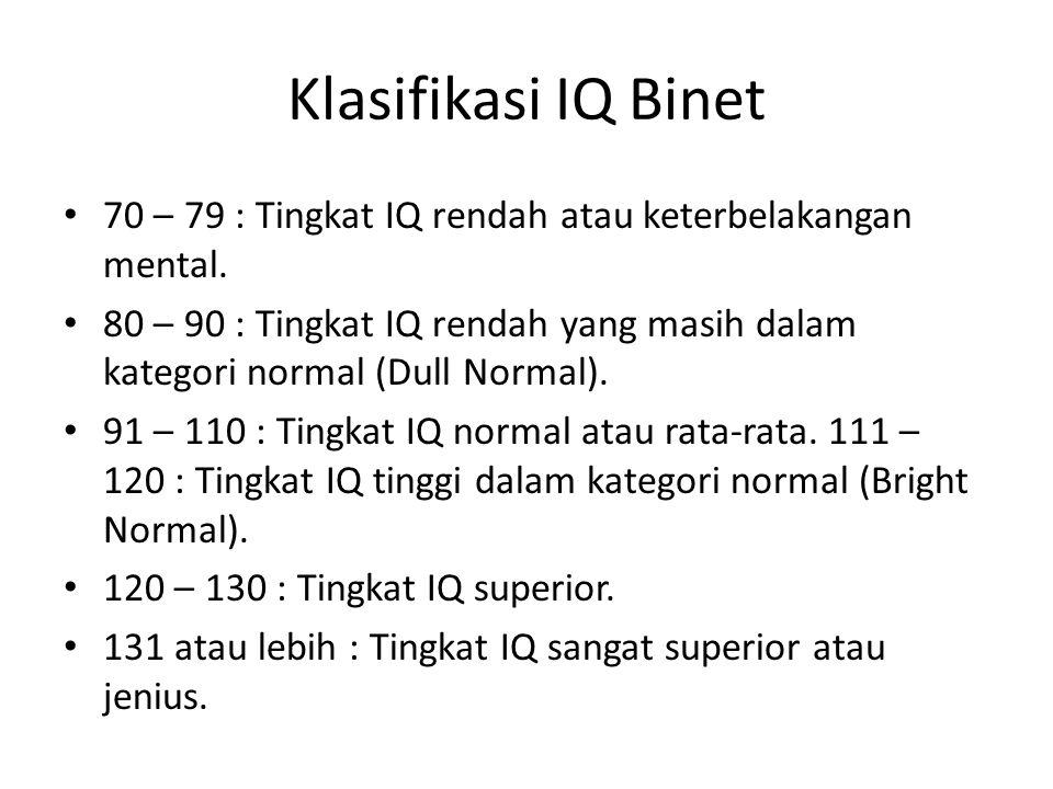 Klasifikasi IQ Binet 70 – 79 : Tingkat IQ rendah atau keterbelakangan mental.