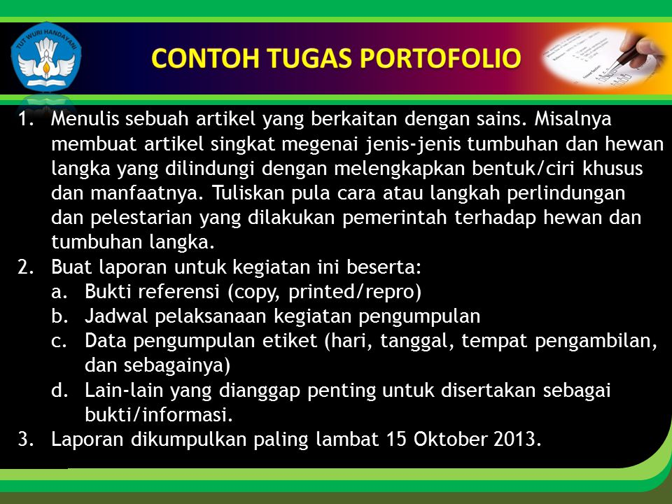 CONTOH TUGAS PORTOFOLIO