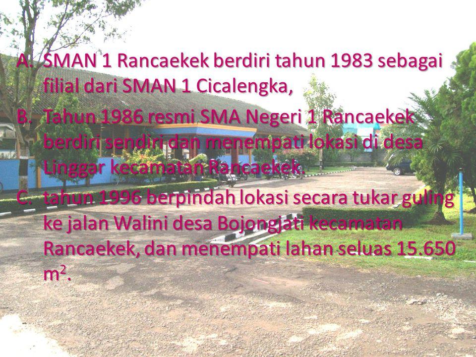 SEJARAH SINGKAT SMAN 1 Rancaekek berdiri tahun 1983 sebagai filial dari SMAN 1 Cicalengka,