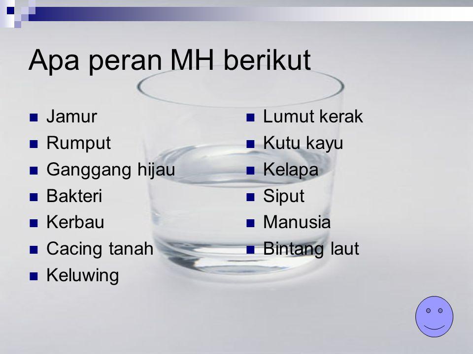Apa peran MH berikut Jamur Rumput Ganggang hijau Bakteri Kerbau