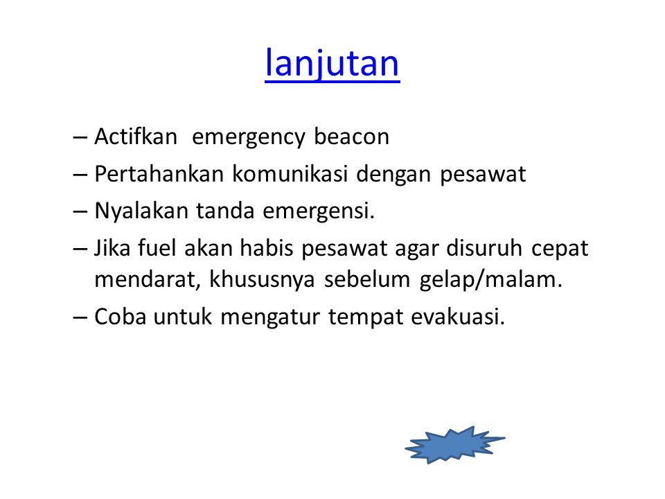 lanjutan Actifkan emergency beacon