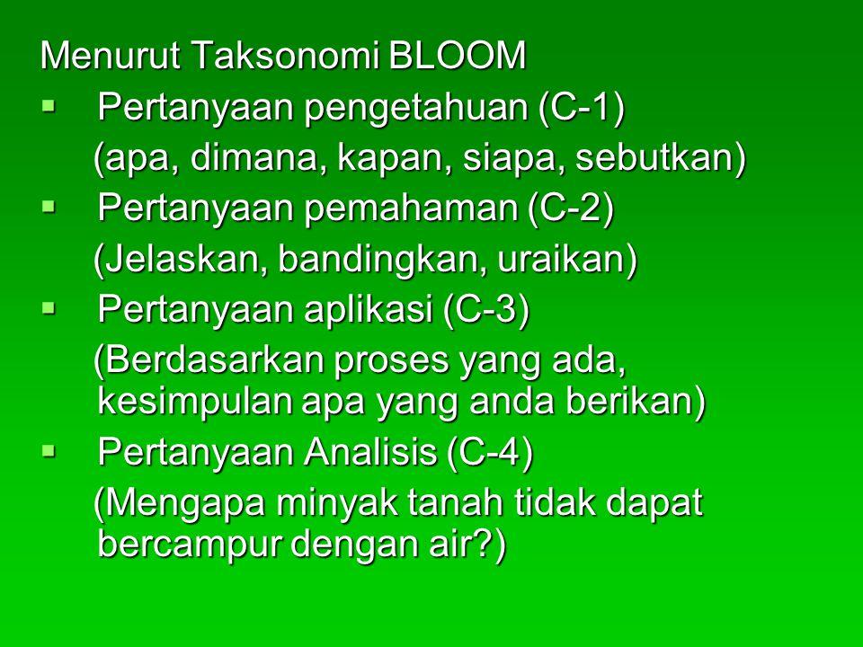 Menurut Taksonomi BLOOM