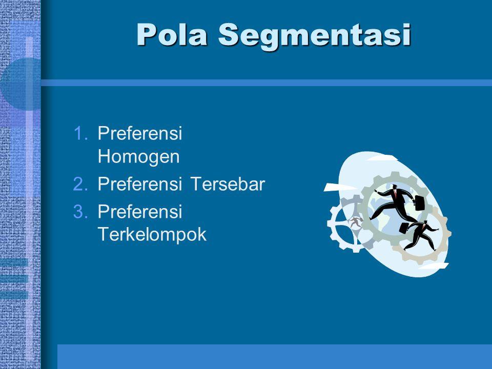 Pola Segmentasi Preferensi Homogen Preferensi Tersebar