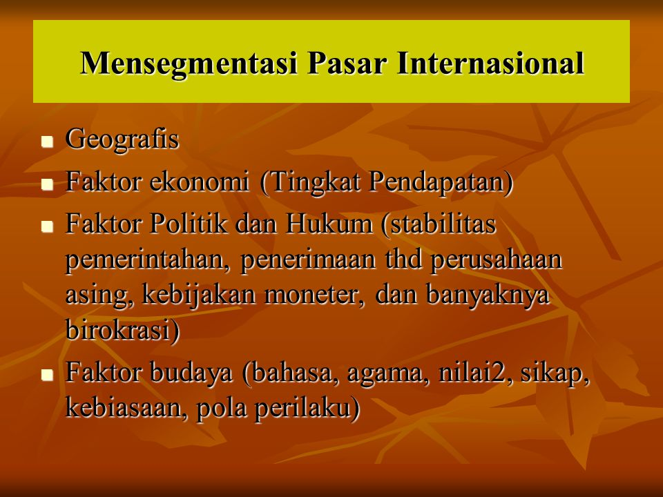 Mensegmentasi Pasar Internasional