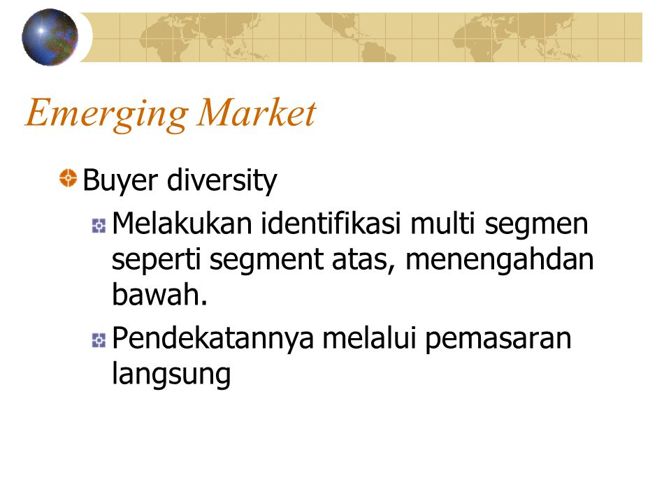Emerging Market Buyer diversity
