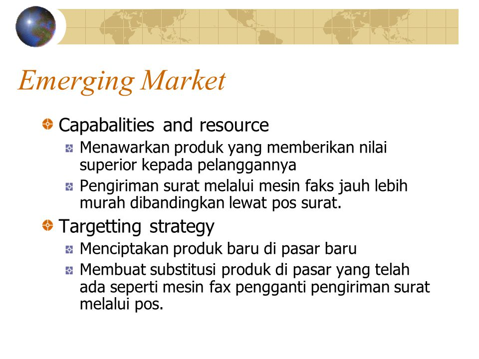 Emerging Market Capabalities and resource Targetting strategy