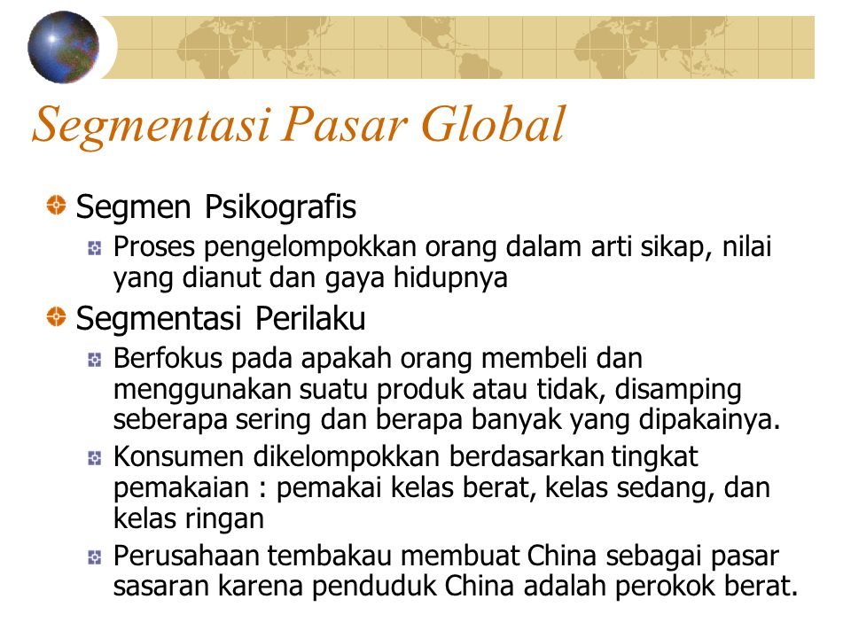 Segmentasi Pasar Global