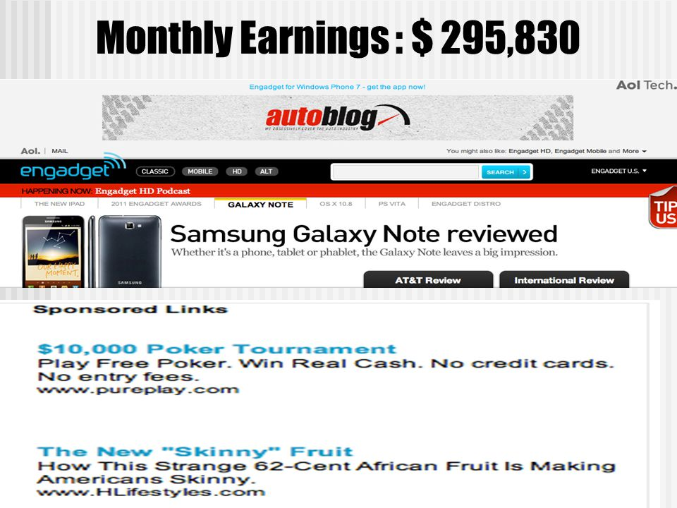 Monthly Earnings : $ 295,830