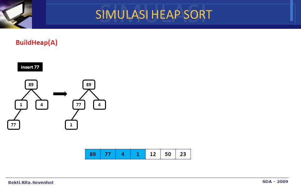 SIMULASI SIMULASI HEAP SORT BuildHeap(A) 89 77 4 1 12 50 23 insert 77