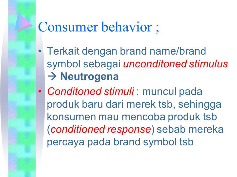 Consumer behavior ; Terkait dengan brand name/brand symbol sebagai unconditoned stimulus  Neutrogena.