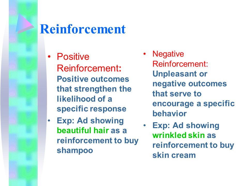Reinforcement Negative Reinforcement: Unpleasant or negative outcomes that serve to encourage a specific behavior.