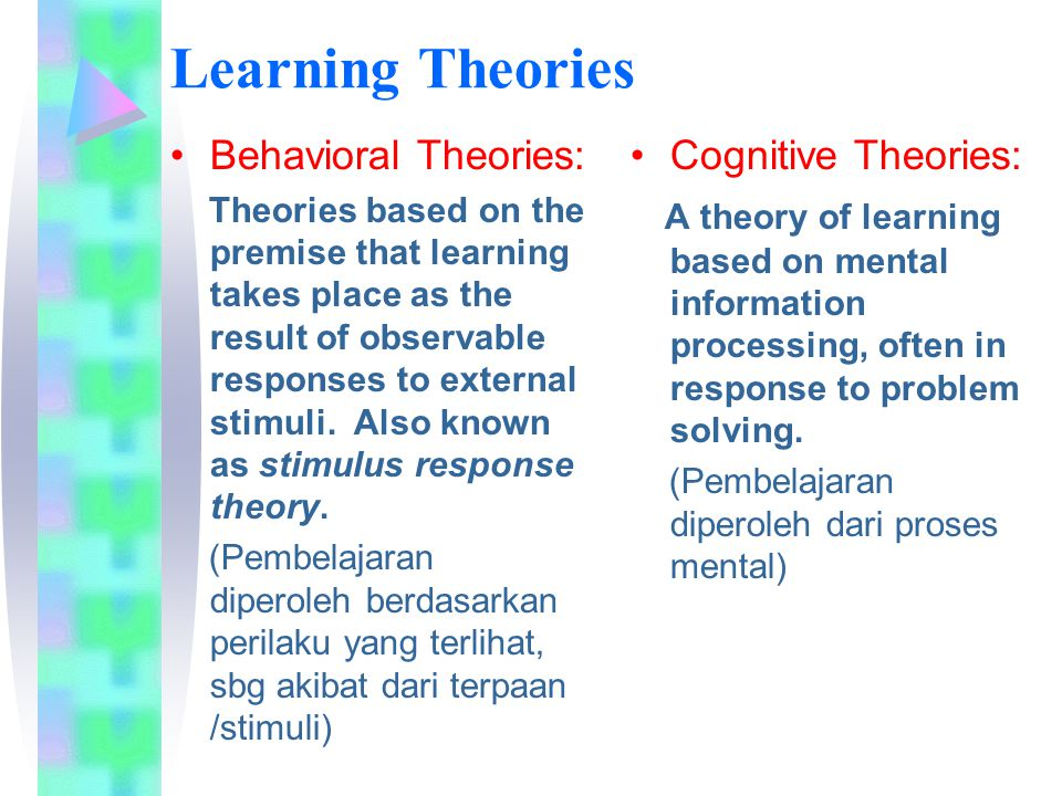 Learning Theories Behavioral Theories: Cognitive Theories: