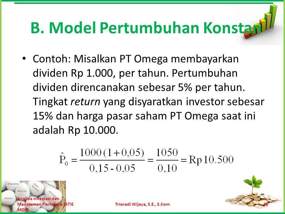 B. Model Pertumbuhan Konstan