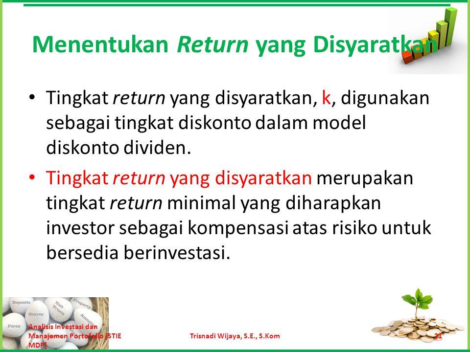 Menentukan Return yang Disyaratkan