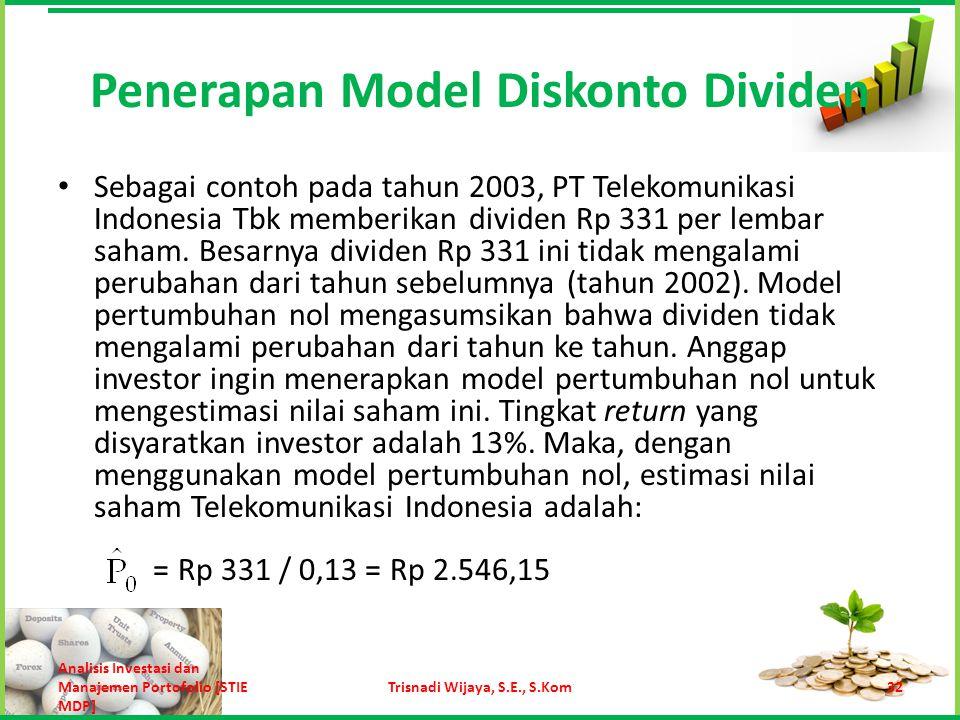 Penerapan Model Diskonto Dividen