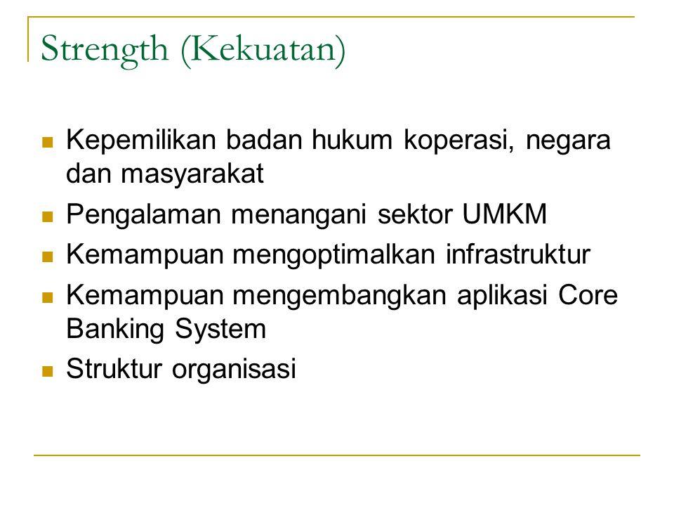 Strength (Kekuatan) Kepemilikan badan hukum koperasi, negara dan masyarakat. Pengalaman menangani sektor UMKM.