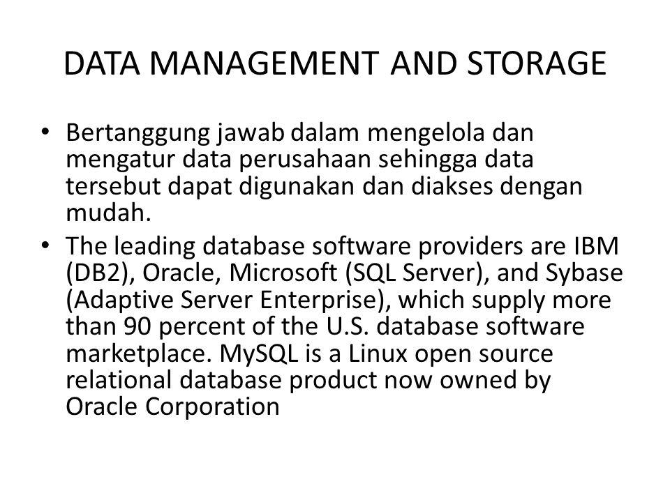 DATA MANAGEMENT AND STORAGE