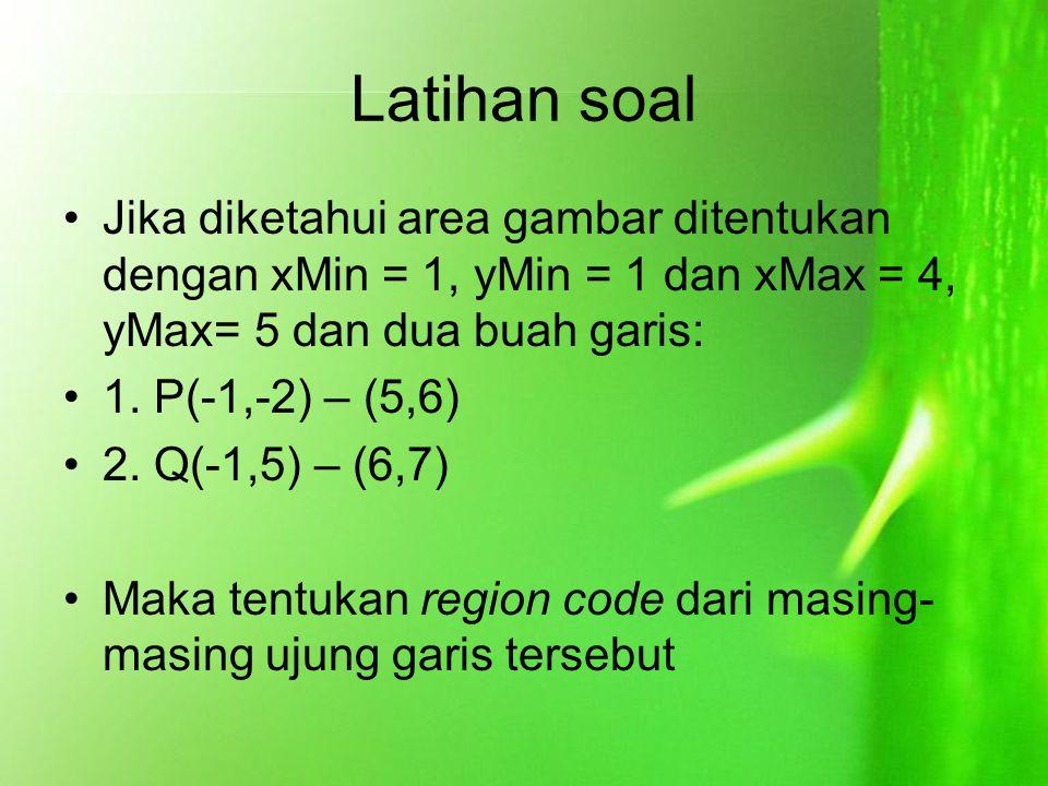 Latihan soal Jika diketahui area gambar ditentukan dengan xMin = 1, yMin = 1 dan xMax = 4, yMax= 5 dan dua buah garis: