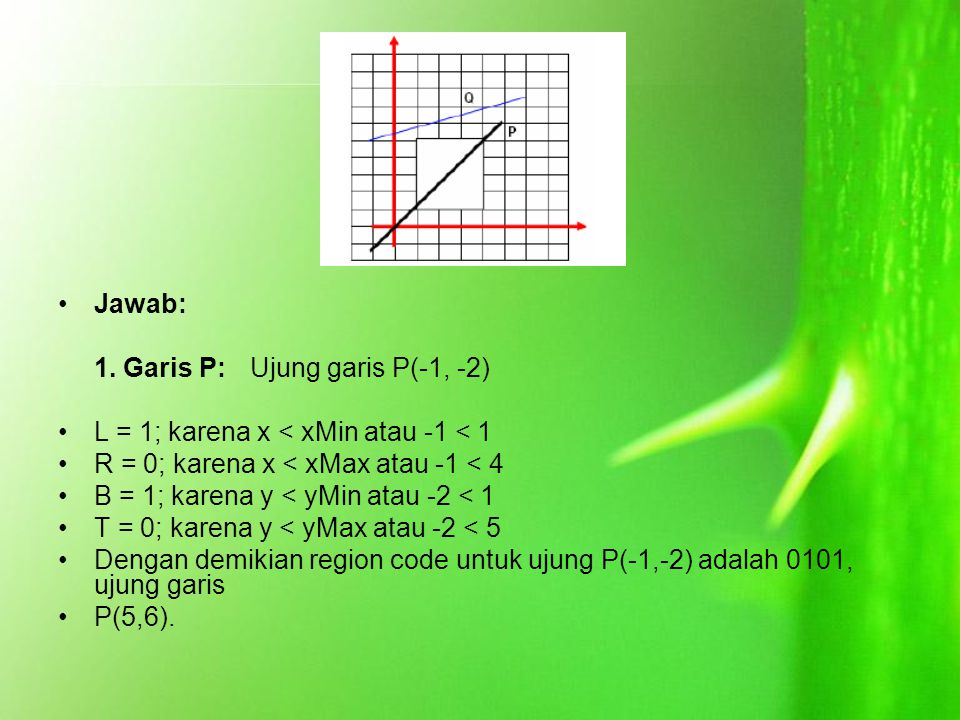 Jawab: 1. Garis P: Ujung garis P(-1, -2) L = 1; karena x < xMin atau -1 < 1. R = 0; karena x < xMax atau -1 < 4.
