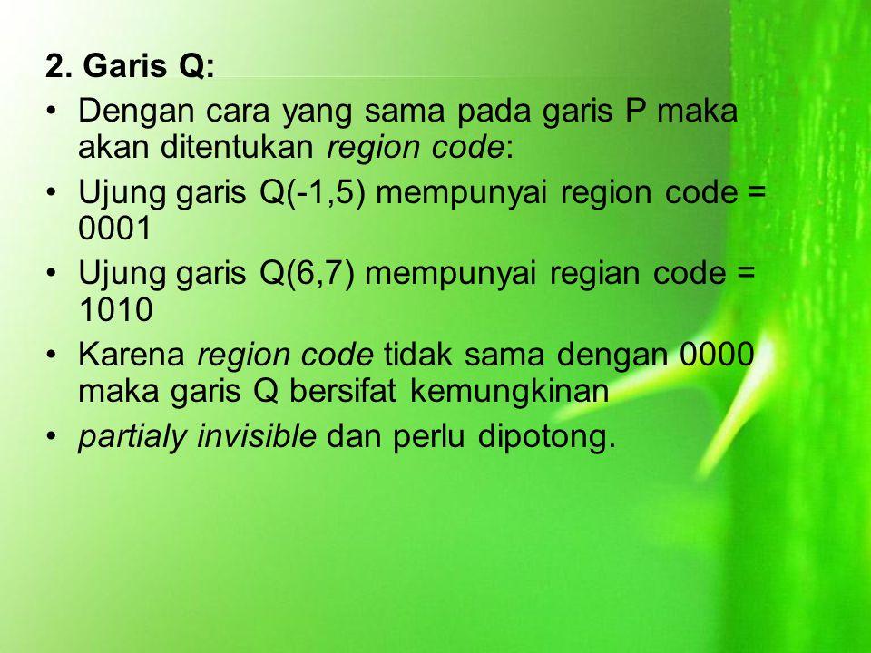 2. Garis Q: Dengan cara yang sama pada garis P maka akan ditentukan region code: Ujung garis Q(-1,5) mempunyai region code = 0001.