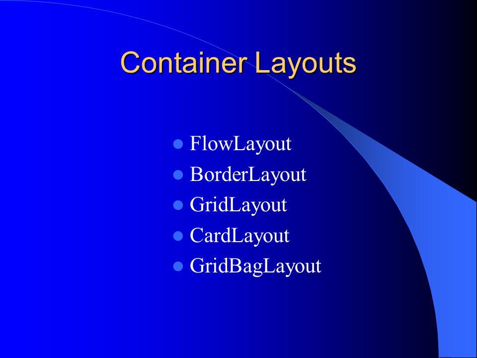 Container Layouts FlowLayout BorderLayout GridLayout CardLayout